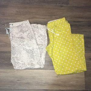 Lot of 2 pairs of J Crew Pajama Pants Sz M